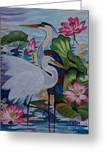 The Lotus Pond Hand Embroidery Greeting Card by To-Tam Gerwe