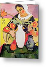 The Lute Player Greeting Card by August Macke