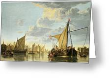 The Maas At Dordrecht Greeting Card by Aelbert Cuyp