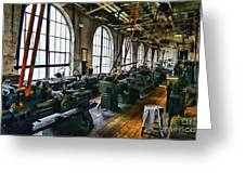 The Machine Shop Greeting Card by Paul Ward