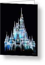 The Magic Kingdom Castle In Frosty Light Blue Walt Disney World Greeting Card by Thomas Woolworth