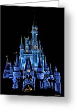 The Magic Kingdom Castle In Very Deep Blue Walt Disney World Fl Greeting Card by Thomas Woolworth