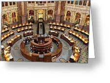 The Main Reading Room Of The Library Of Congress Greeting Card by Allen Beatty