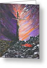 The Man On The Cross Greeting Card by Alys Caviness-Gober