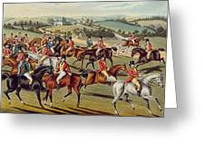 'the Meet' Plate I From 'fox Hunting' Greeting Card by Charles Senior Hunt