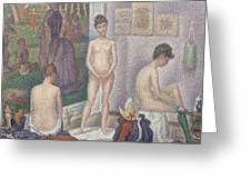The Models Greeting Card by Georges Pierre Seurat
