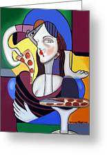 The Mona Pizza Greeting Card by Anthony Falbo