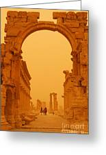The Monumental Arch At Palmyra Syria In The Light After A Sandstorm Greeting Card by Robert Preston
