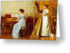 The Music Room Greeting Card by George Goodwin Kilburne