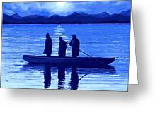 The Night Fishermen Greeting Card by SophiaArt Gallery