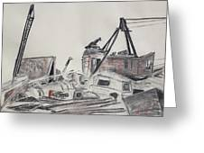 The Old Berkeley Marina Junk Heap On A Foggy Day Greeting Card by Asha Carolyn Young