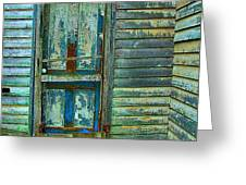 The Old Blue Door Greeting Card by Julie Dant