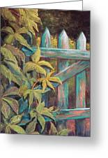 The Old Gate Greeting Card by Candy Mayer