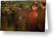 The Open Air Party Greeting Card by Ramon Casas i Carbo
