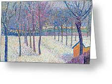 The Orchard Under The Snow  Greeting Card by Hippolyte Petitjean
