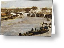 The Oxford And Cambridge Boat Race Greeting Card by James Macbeth