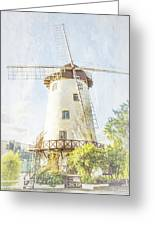 The Penny Royal Windmill Greeting Card by Elaine Teague