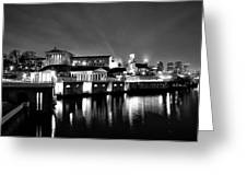 The Philadelphia Waterworks In Black And White Greeting Card by Bill Cannon