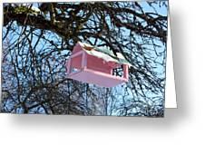 The Pink Bird Feeder Greeting Card by Ausra Paulauskaite