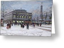 The Place Du Chatelet Paris Greeting Card by Eugene Galien-Laloue