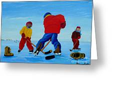 The Pond Hockey Game Greeting Card by Anthony Dunphy