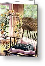 the QUEEN is on her throne Greeting Card by Jill Westbrook
