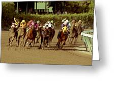 The Race At Gulfsteam Greeting Card by Jason M Silverman