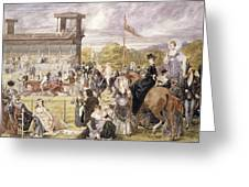 The Races At Longchamp In 1874 Greeting Card by Pierre Gavarni