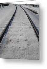 The Railroad Tracks Greeting Card by Jenna Mengersen