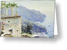 The Ravello Coastline Greeting Card by Peder Monsted