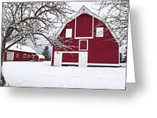 The Red Barn Greeting Card by Fran Riley