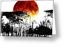 The Red Moon - Landscape Art By Sharon Cummings Greeting Card by Sharon Cummings