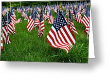 The Red White And Blue  American Flags Greeting Card by Donna Doherty