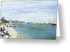 The Regatta At Sainte-adresse Greeting Card by Claude Monet