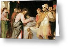 The Resurrection of Jairus's Daughter Greeting Card by Santi Di tito