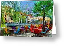 The Riverside Cafe Greeting Card by Dragica  Micki Fortuna