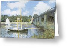 The Road Bridge At Argenteuil Greeting Card by Claude Monet