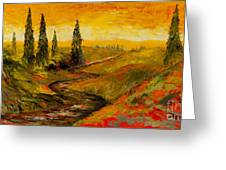The Road To Tuscany Greeting Card by Larry Martin