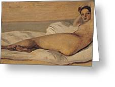 The Roman Odalisque Greeting Card by Jean Baptiste Camille Corot