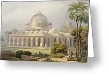 The Roza At Mehmoodabad In Guzerat, Or Greeting Card by Captain Robert M. Grindlay