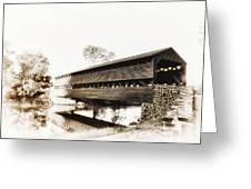 The Sachs Covered Bridge Near Gettysburg In Sepia Greeting Card by Bill Cannon