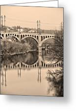 The Schuylkill River And Manayunk Bridge In Sepia Greeting Card by Bill Cannon