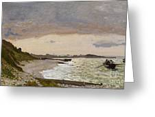 The Seashore at Sainte Adresse Greeting Card by Claude Monet
