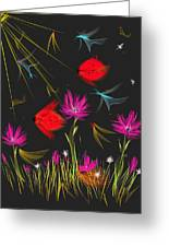 The Secrets Of The Night Greeting Card by Angela A Stanton