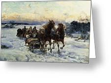 The Sleigh Ride Greeting Card by Alfred von Wierusz Kowalski