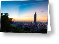 The Sky Of Taipei 101 Greeting Card by Dewa Wirabuwana