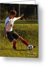 The Soccer Player Greeting Card by Dan Stone
