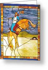 The Stained Glass Cowboy Riding Out The Bucks Greeting Card by Patricia Keller
