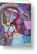 The Stallion And Ghost Goddess Greeting Card by Sandra Silberzweig