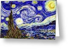 The Starry Night Reimagined Greeting Card by Adam Romanowicz